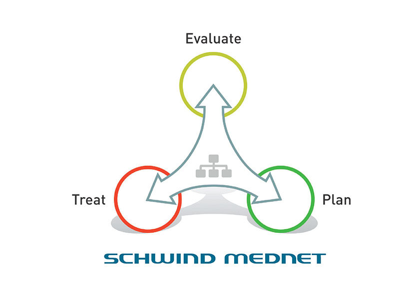Graphic with three arrows on the topic SCHWIND Mednet in english